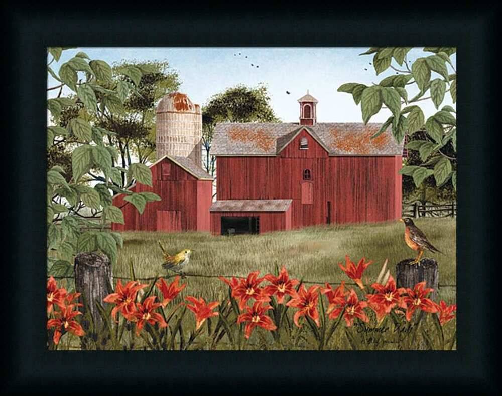 Summer days billy jacobs red barn landscape 12x16 framed for Wall artwork paintings