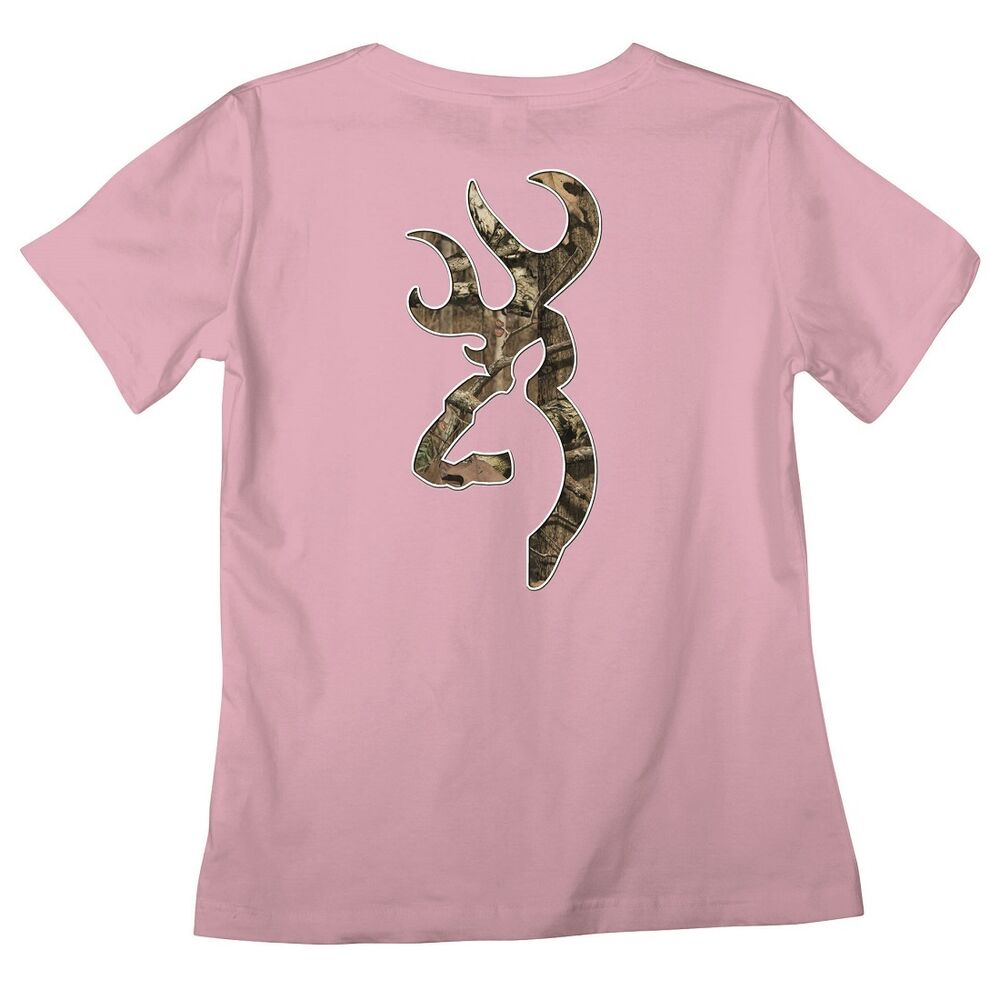 BROWNING BUCKMARK PINK MOSSY OAK CAMO LADIES QUALITY T ...