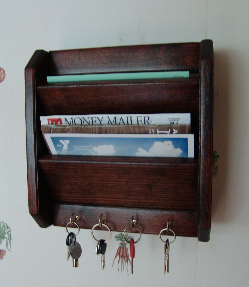 12 mail letter rack handcrafted wood key hook organizer holder wall r mahogany ebay - Key hook and mail holder ...