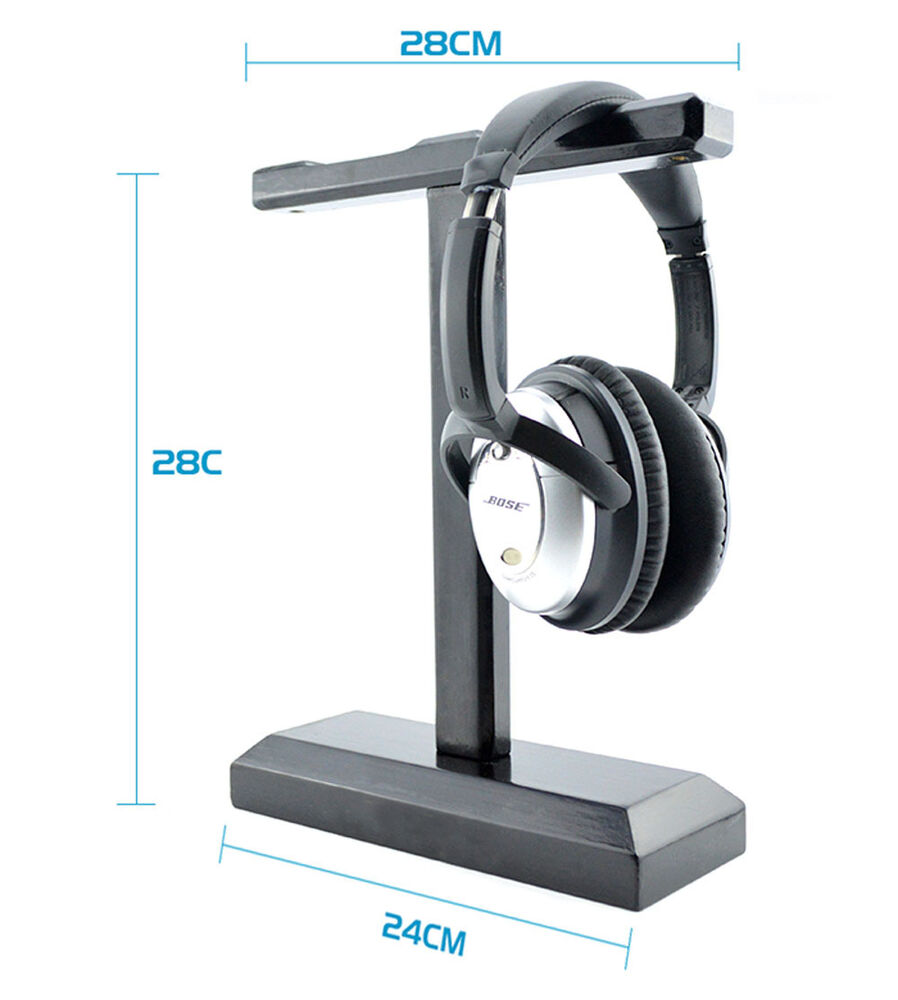 D00 solid wooden holder display stand for dual on ear over ear headphone headset ebay - Wooden headphone holder ...