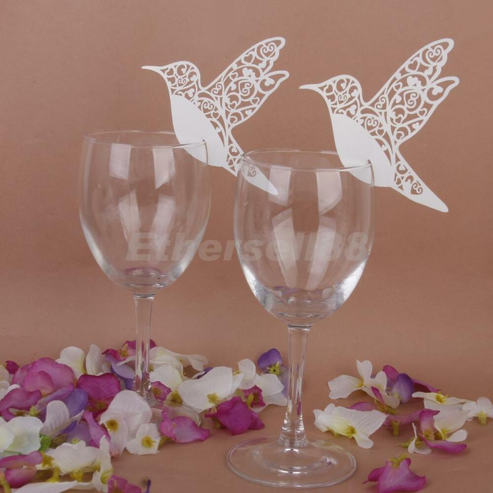 50x beauty bird wine glass place cards wedding name party for Wine glass decorations for weddings
