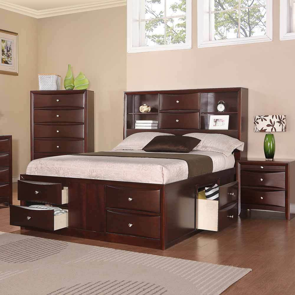 Elegant bedroom queen bed w multi drawers storage headboard espresso finished ebay for Bedroom set with storage drawers