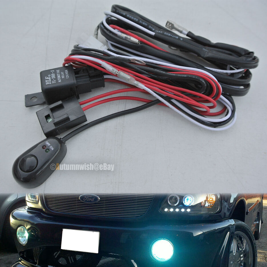universal automotive fog light wire wiring harness kit. Black Bedroom Furniture Sets. Home Design Ideas