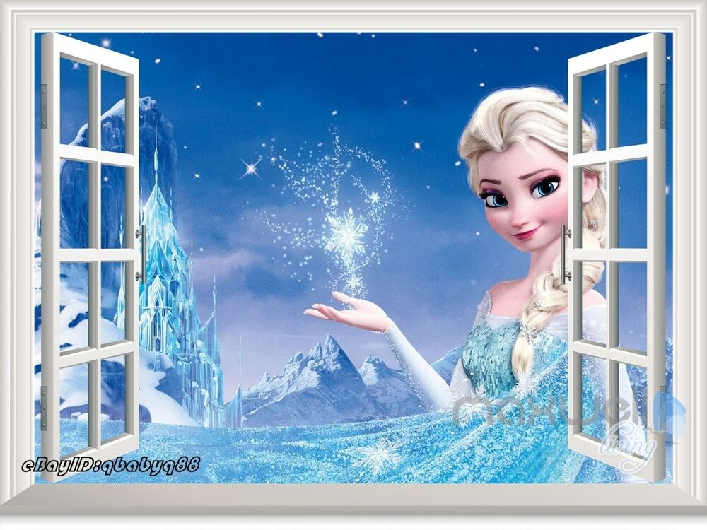 Disney Frozen Elsa Snowflake Ice Palace 3d Window Wall