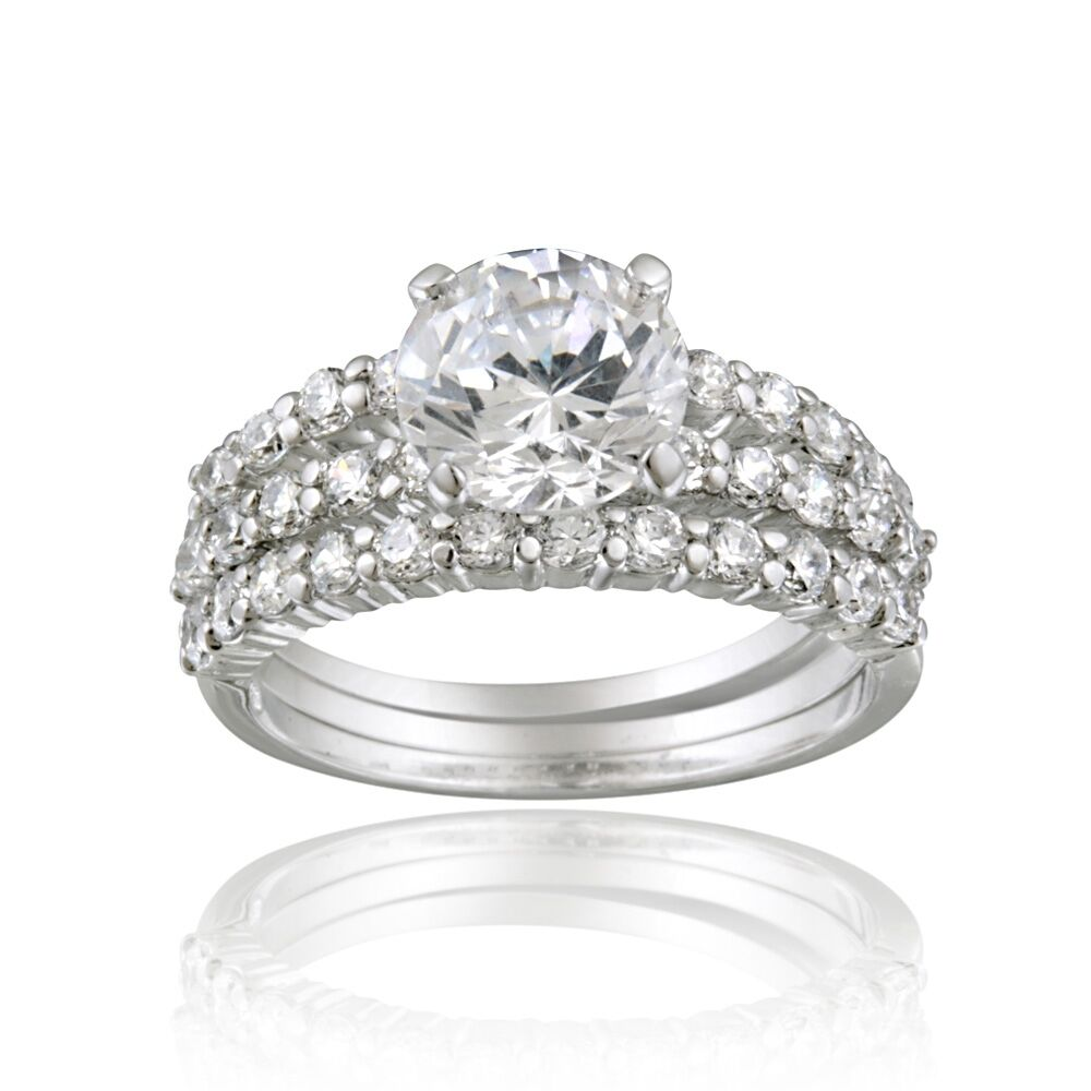 925 Silver Round CZ Bridal Engagement Stackable Ring Set EBay