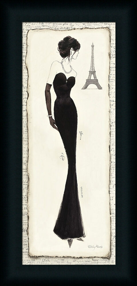 elegance diva ii french woman black dress framed art print