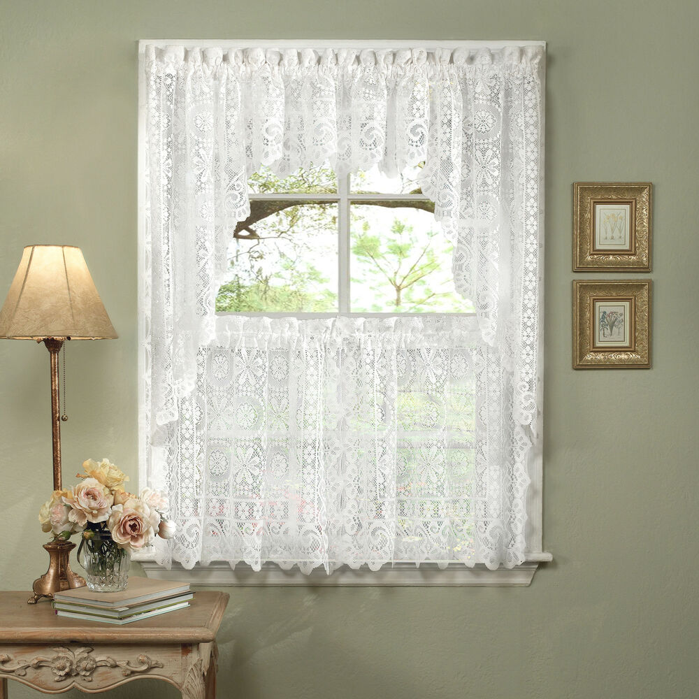 Hopewell Heavy White Lace Kitchen Curtain Choice Of Tier