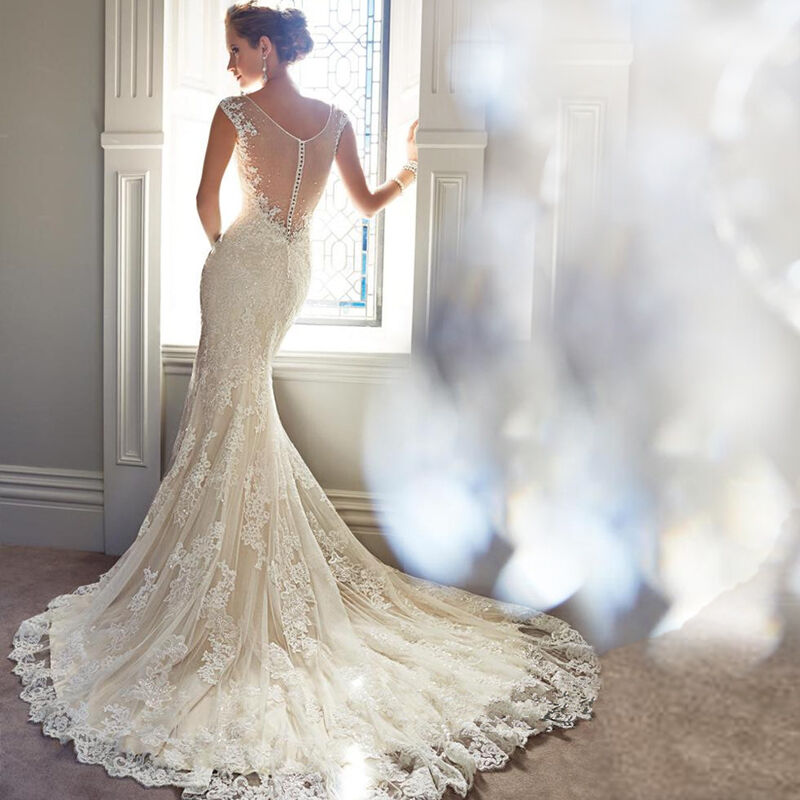 Sexy v neck lace court train wedding dress hollow out long for Mermaid wedding dress with train