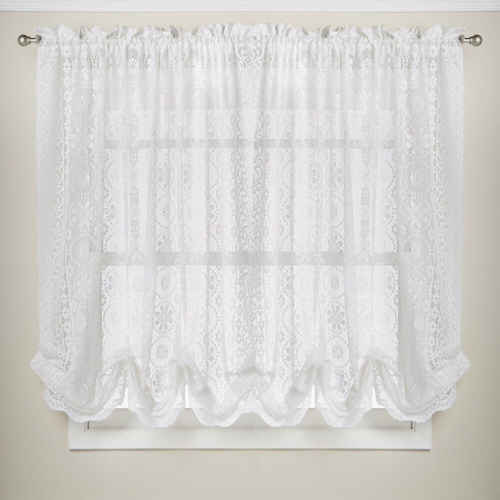 "Hopewell Floral Heavy White Lace Kitchen 58"" X 63"" Curtain"