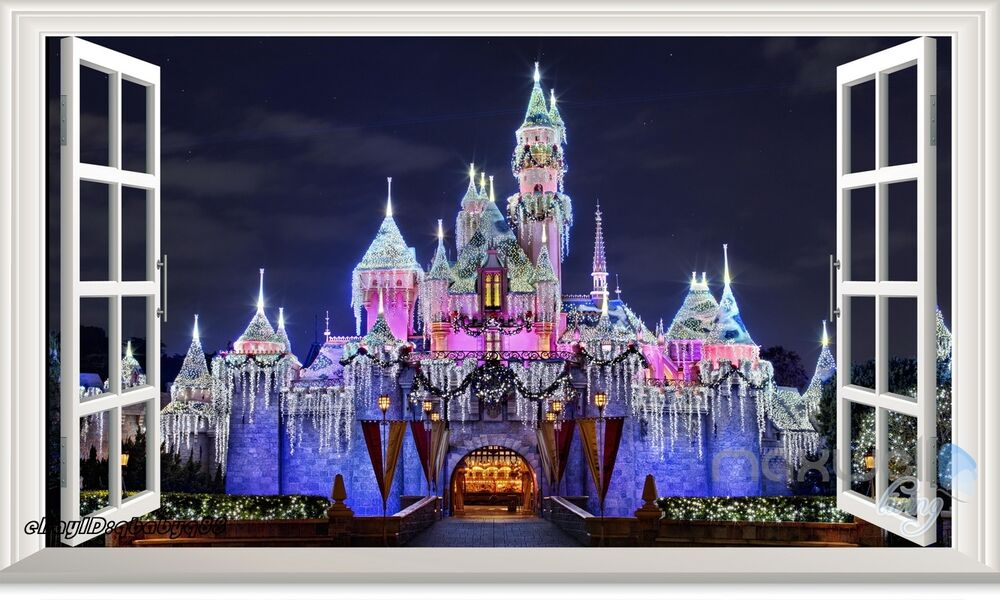 60x100cm disney princess magic castle 3d window wall for Castle wall mural sticker