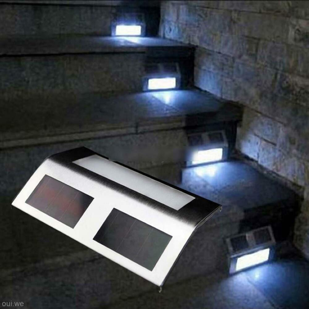 stairs solar led path light lamp white decor outdoor home party garden