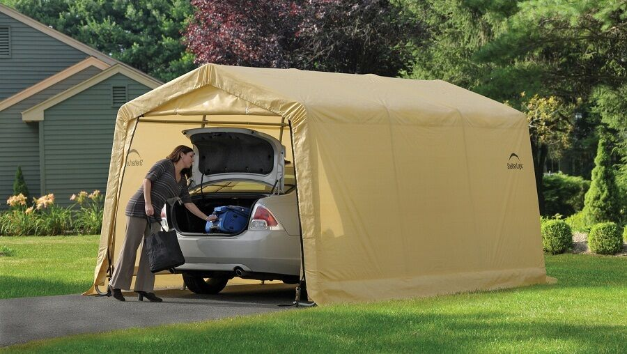 Metal Car Canopies : Shelterlogic auto storage shelter car garage steel