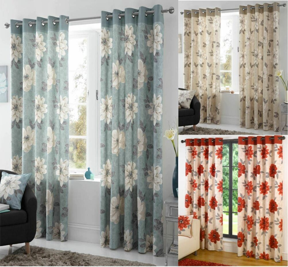 Annabella Floral Lined Eyelet Curtains Ready Made Ring Top