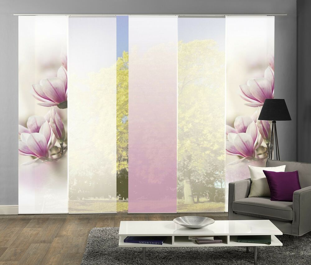 schiebegardinen 5er set digitaldruck magnolie fuchsia ebay. Black Bedroom Furniture Sets. Home Design Ideas