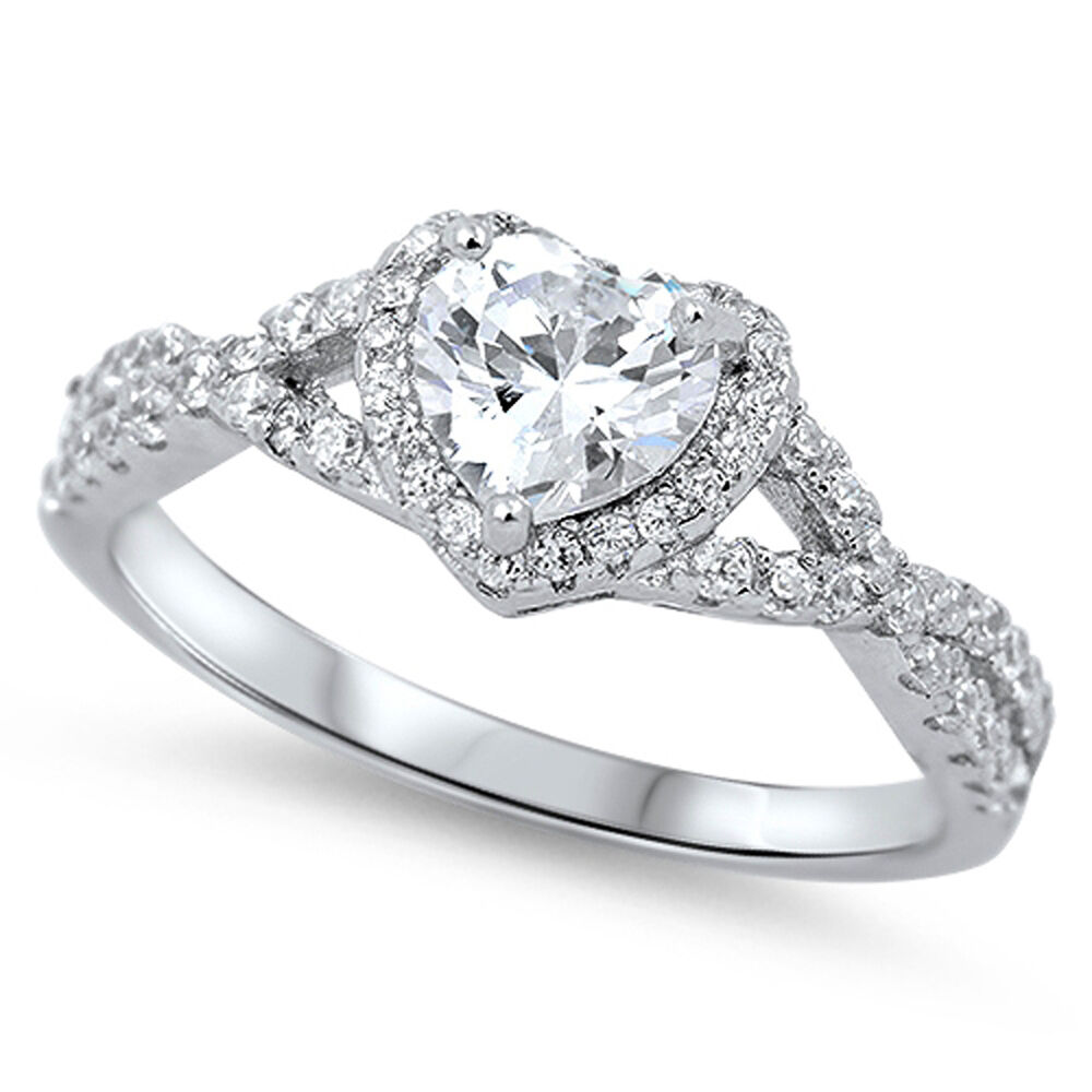 clear cz halo promise ring 925 sterling silver