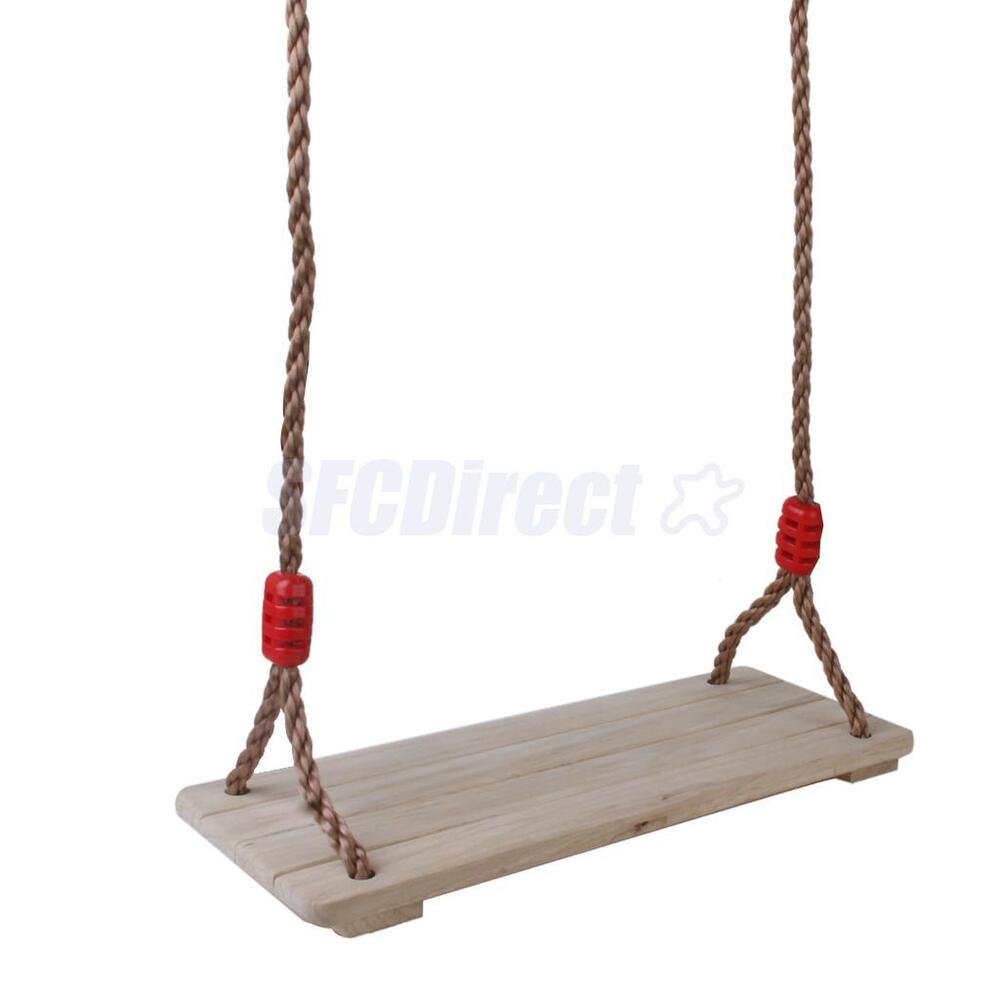 Wood garden tree swing seat w rope children kid toy for How to make wooden swing seat