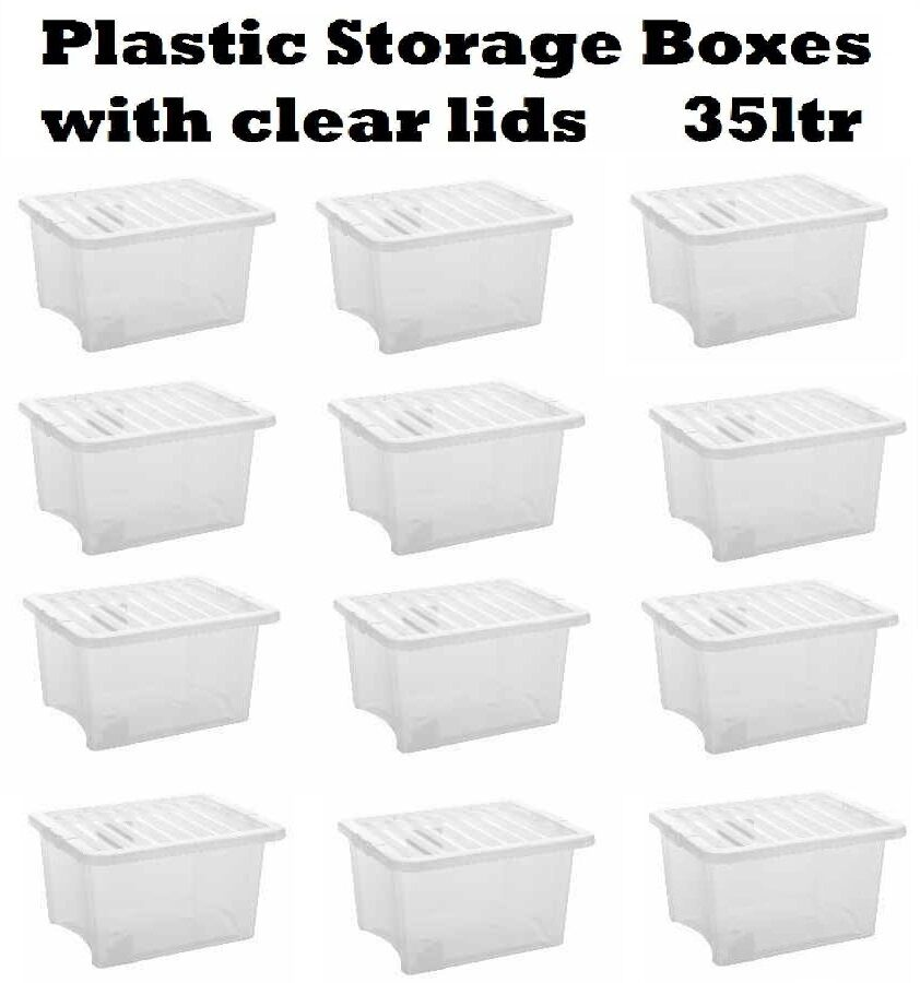 Acrylic Boxes With Lids Uk : Plastic storage box container ltr stackable clear