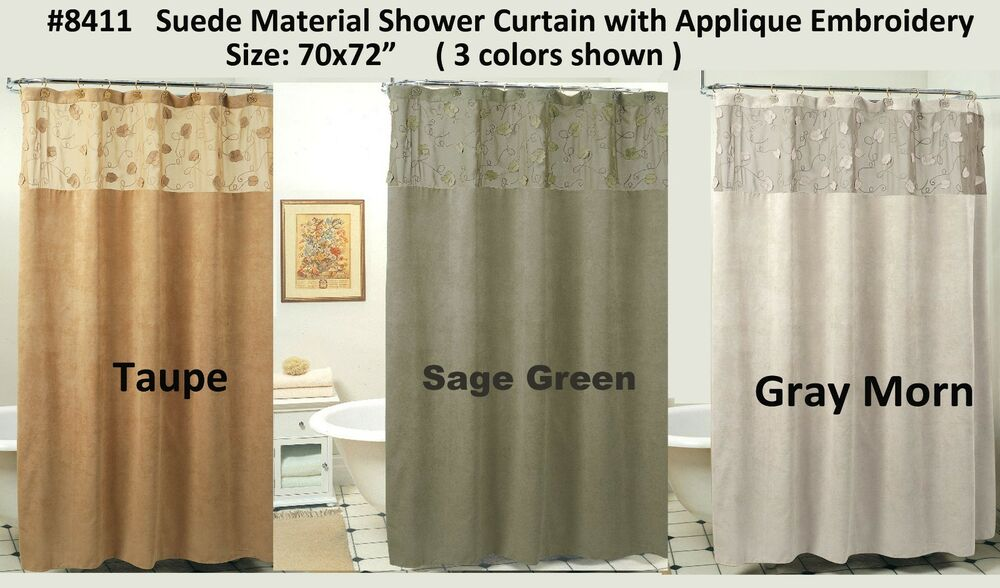 Morning Leaf Suede Fabric Shower Curtain 3 Colors Gray