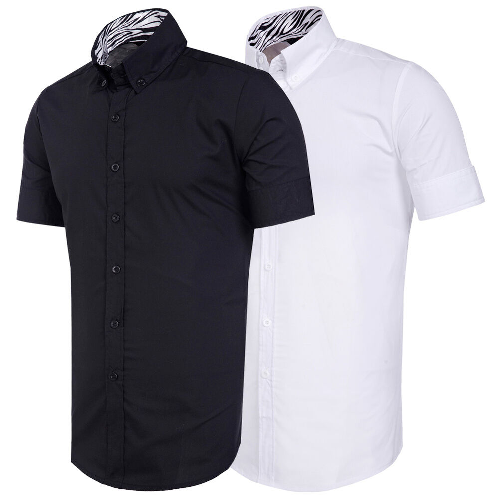 New mens casual short sleeve dress shirts slim fit casual for Mens slim polo shirts
