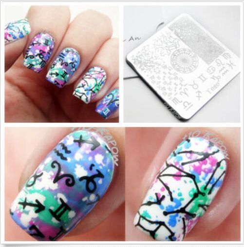 Simple Constellation Nail Art: Y020 Constellation Symbol Nail Art Stamping Printing