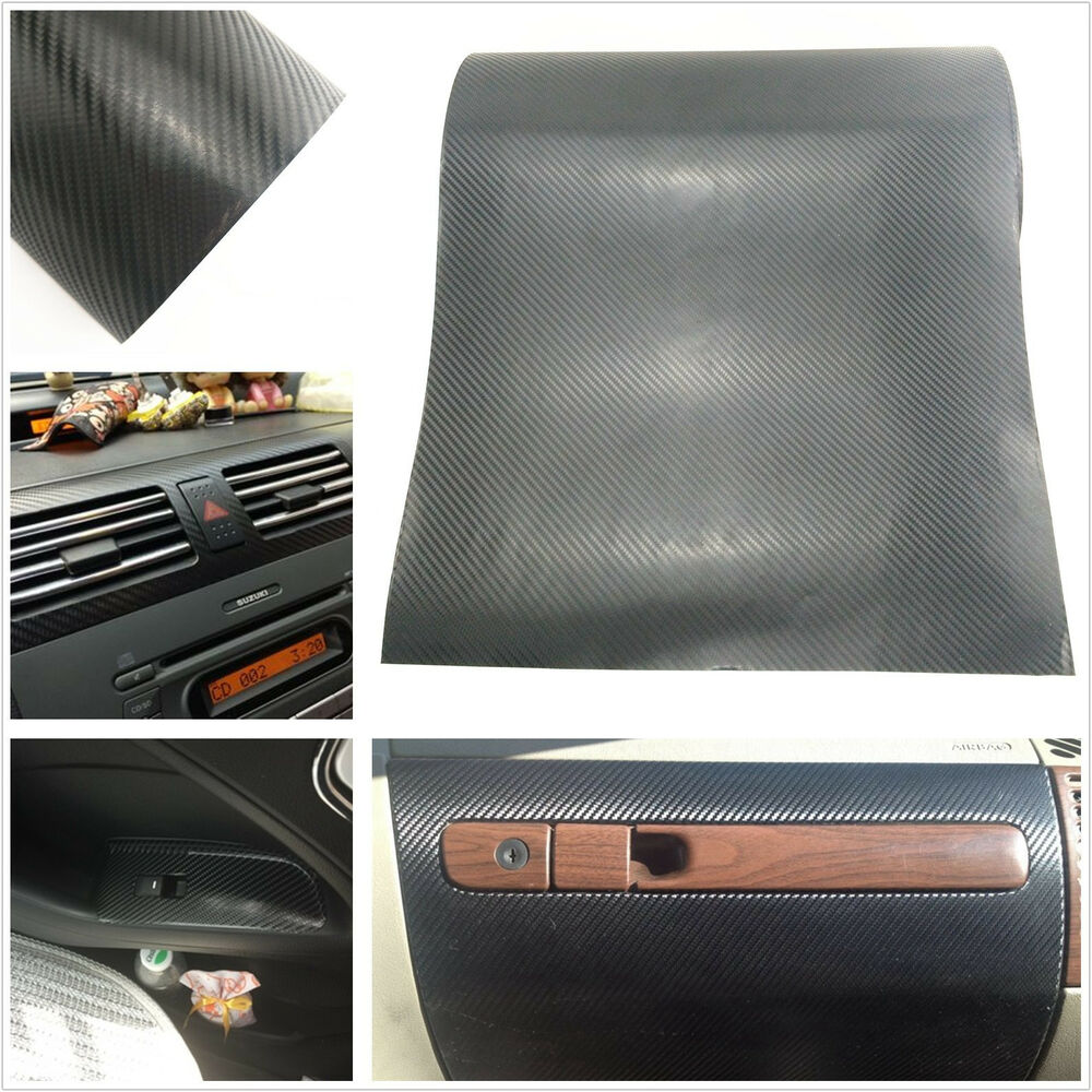 car interior black twill weave carbon fiber vinyl wrap film sheet decal sticker ebay. Black Bedroom Furniture Sets. Home Design Ideas