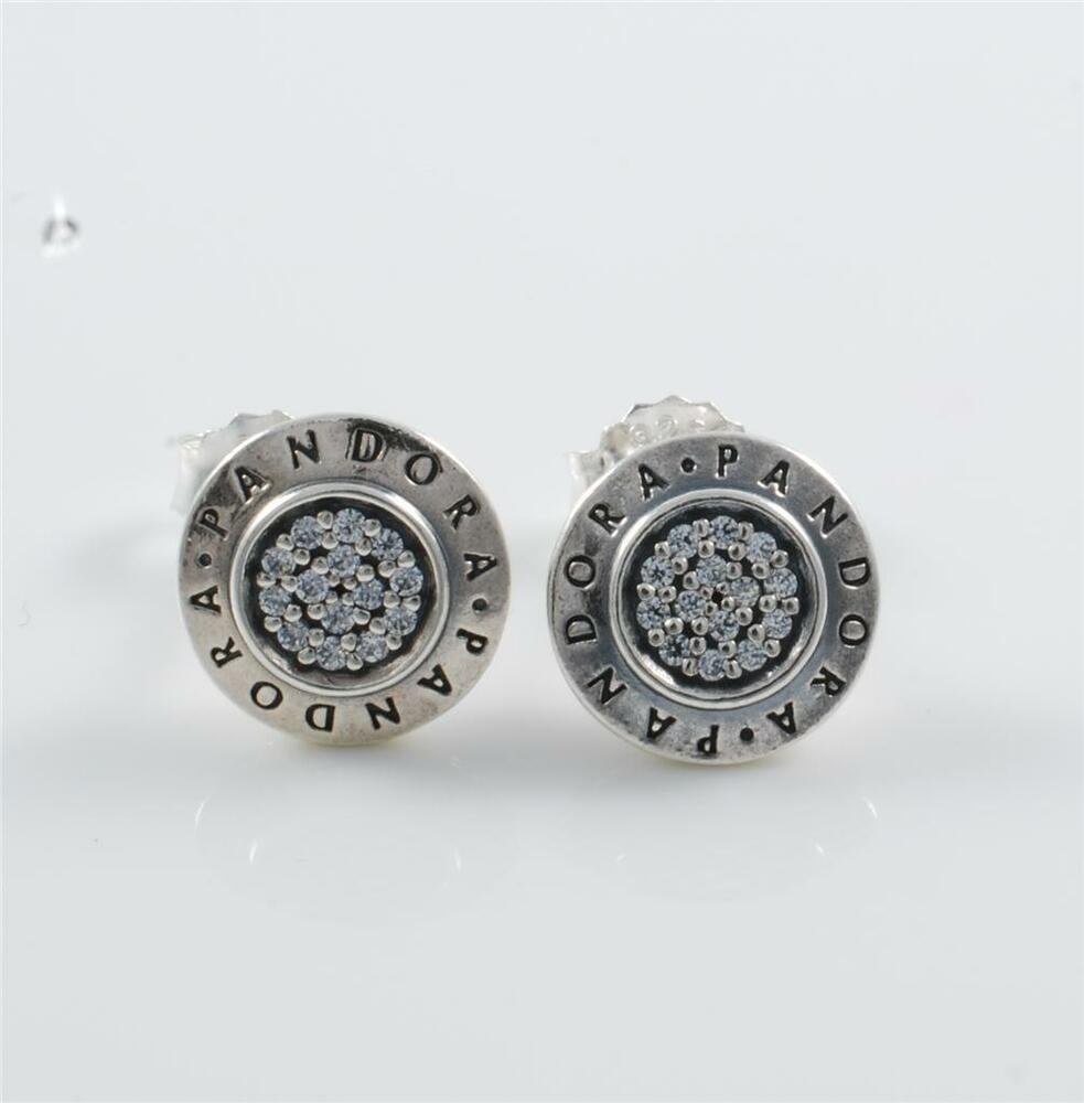Pandora Silver Stud Earrings: Authentic Genuine Pandora Silver Signature Earrings Studs