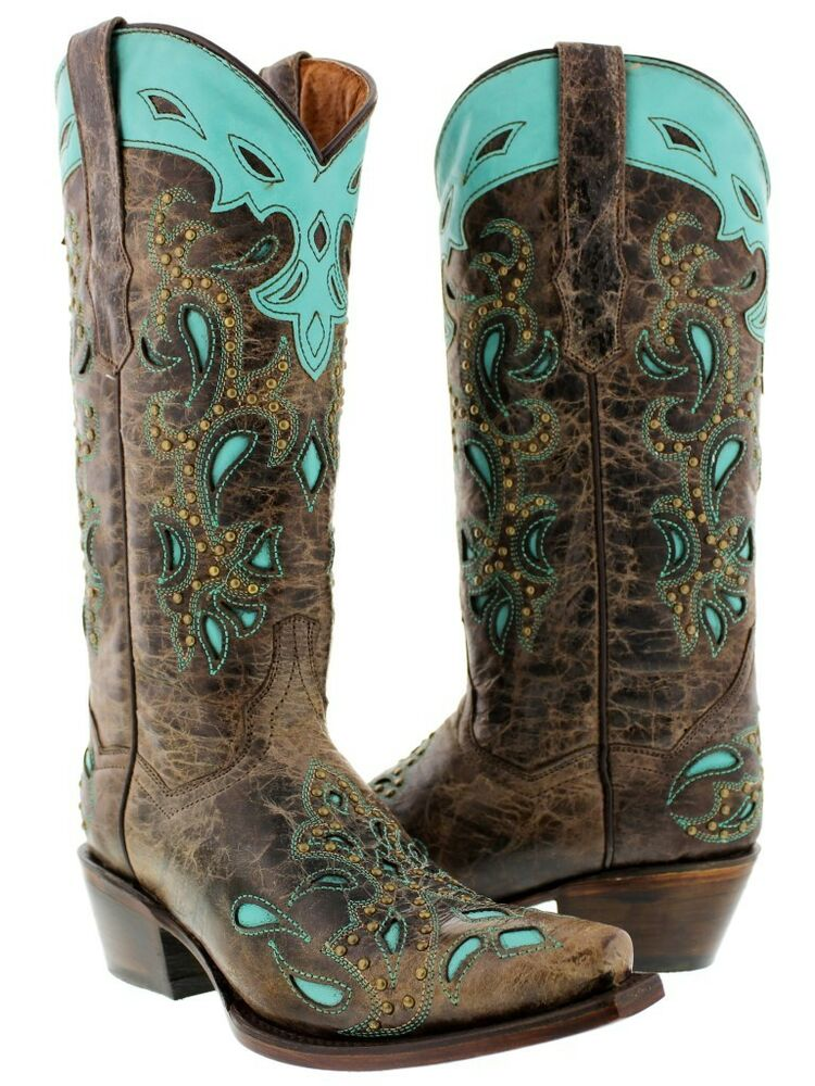 womens brown turquoise leather western cowboy