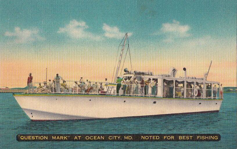 Postcard boat question mark ocean city md noted for best for Fishing in ocean city md