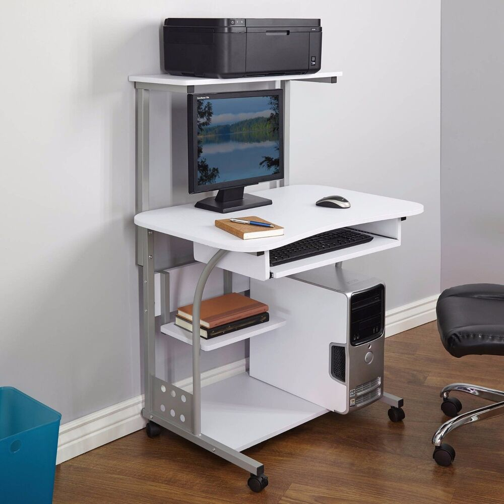 Desk Computer Table W Printer Shelf Home Office Rolling