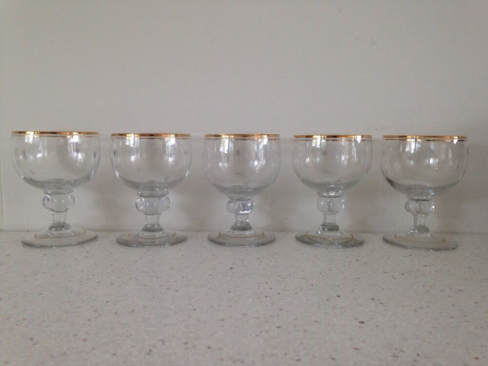 5 vintage swedish crystal cordial glasses starburst gold rim perf cond ebay - Starburst glassware ...