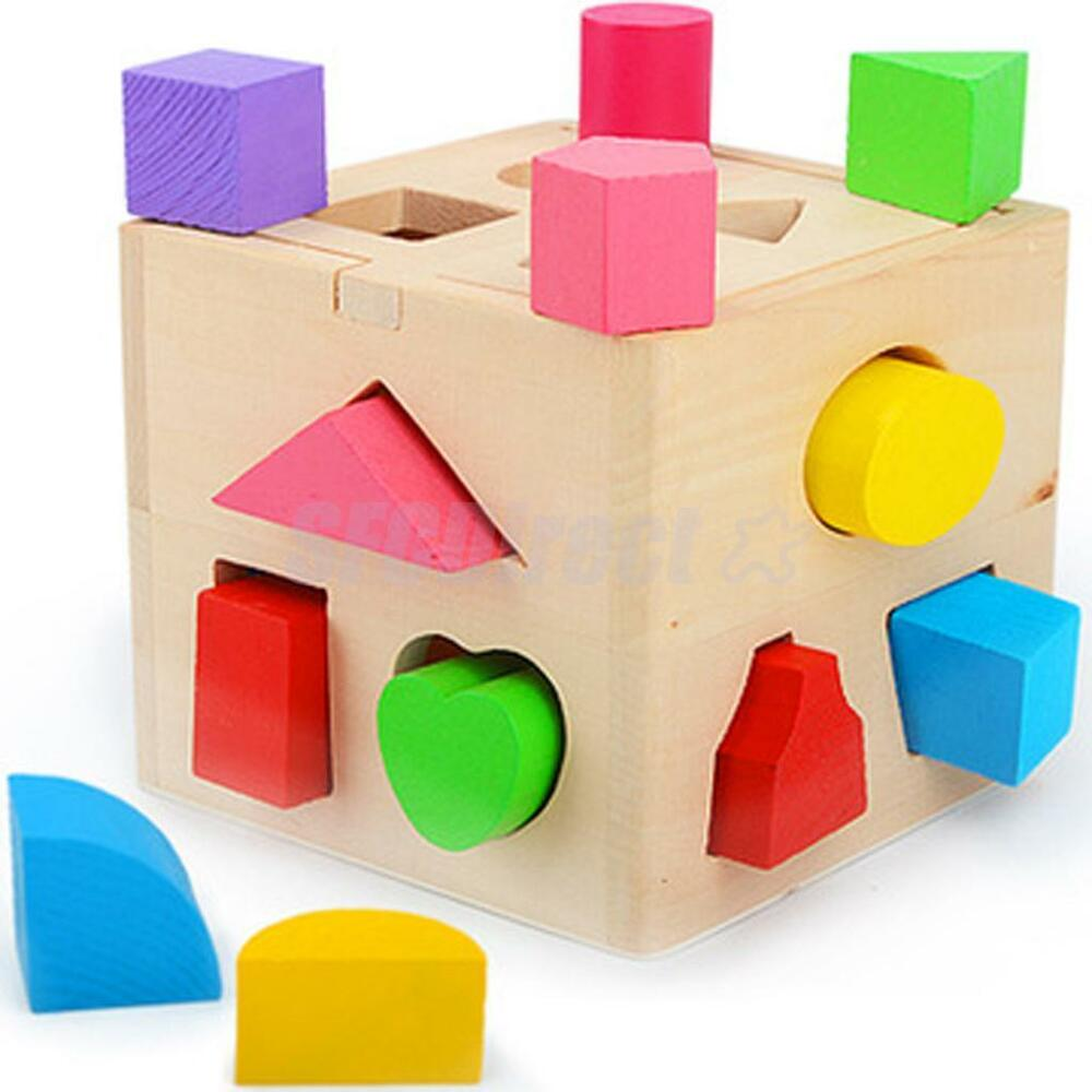 Wooden Block Intelligence Shape Learning Sorter Box Baby Kid ...