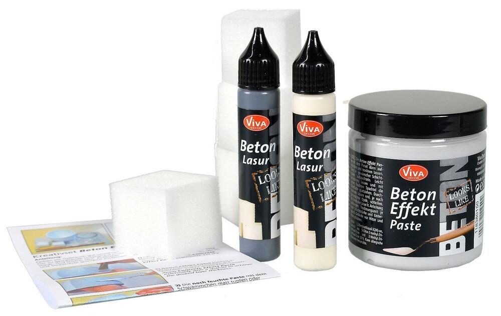 beton effekt paste kreativ set viva decor 250 ml betonpaste 56 ml lasur 547 ebay. Black Bedroom Furniture Sets. Home Design Ideas