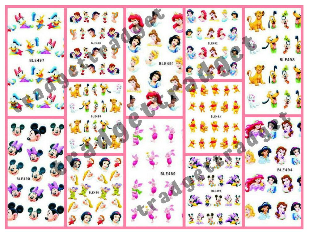 Disney Princess Mickey Minnie Nail Art Sticker Decal ...