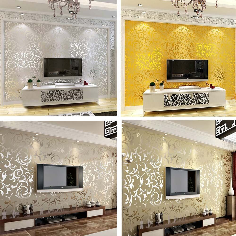 3d modern wall paper roll silver background for living for Modern home decor living room