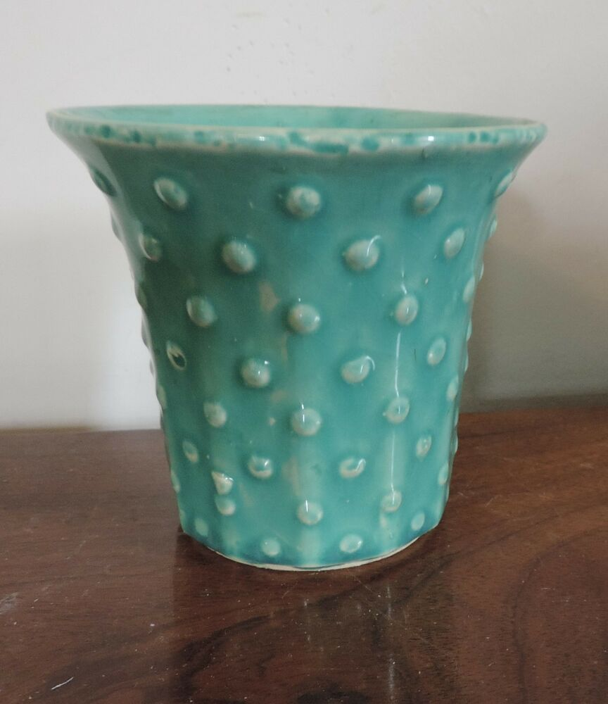 Vintage 1930 1940 Art Deco Pottery Vase Sea Foam Green