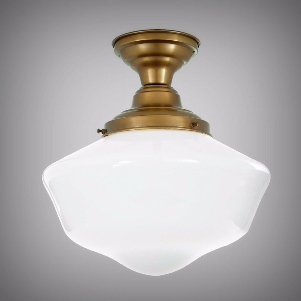 Art deco ceiling lamp antique schoolhouse pendant light for Antique pendant light fixtures