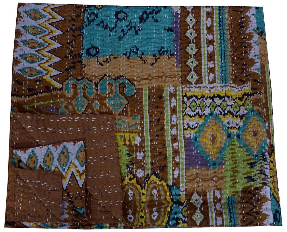 Book Cover Handmade Quilts : Paisley kantha quilt queen size reversible throw brown bed