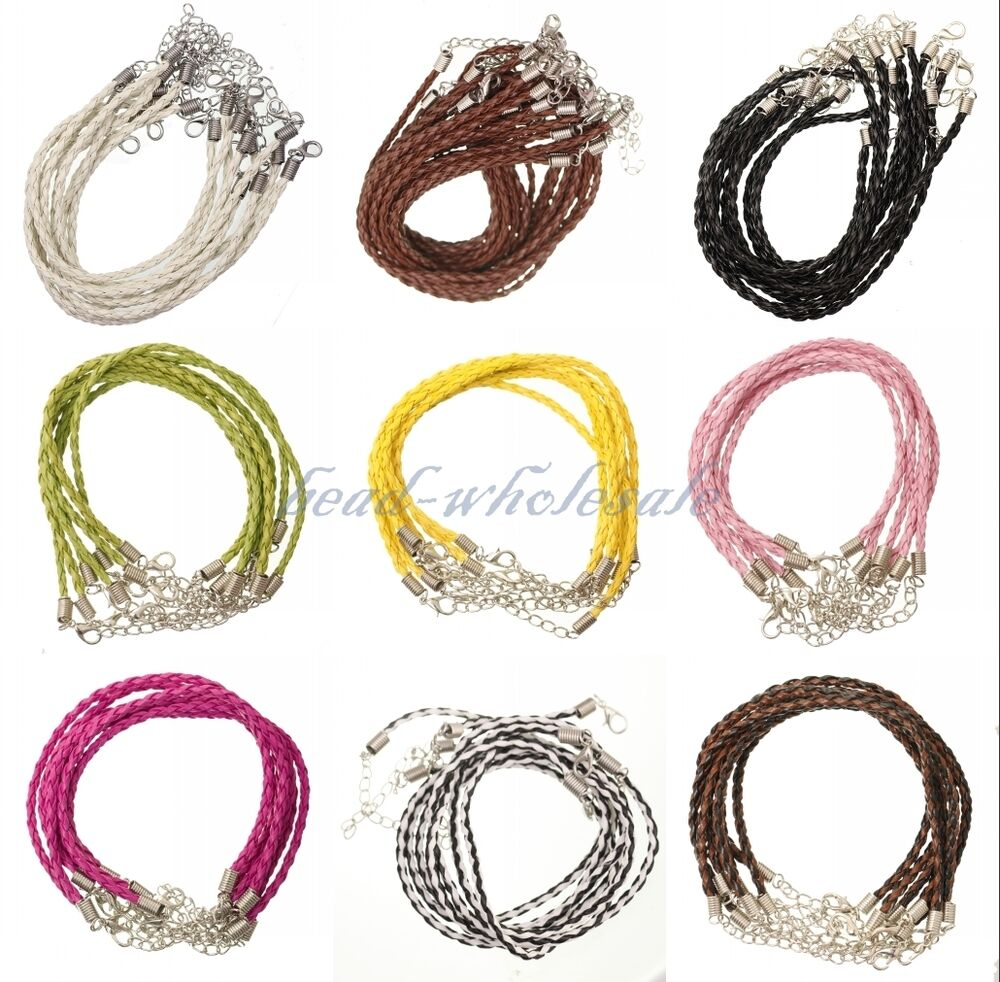 How To Make Hemp Necklaces: Wholesale 5/10pcs Man-made Leather Braid Rope Hemp Cord