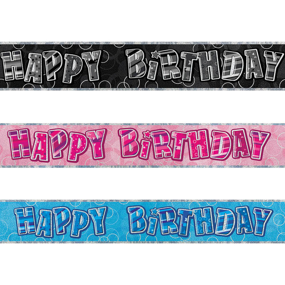 12ft Sparkle Happy Birthday Party Prismatic Foil Banner