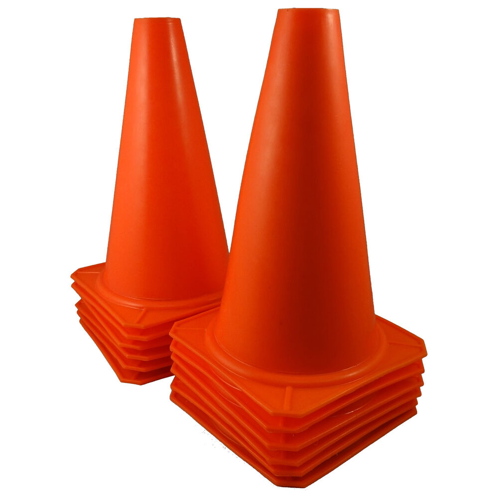 "9"" Tall ORANGE CONES Sports Training Safety Cone Qty 12 