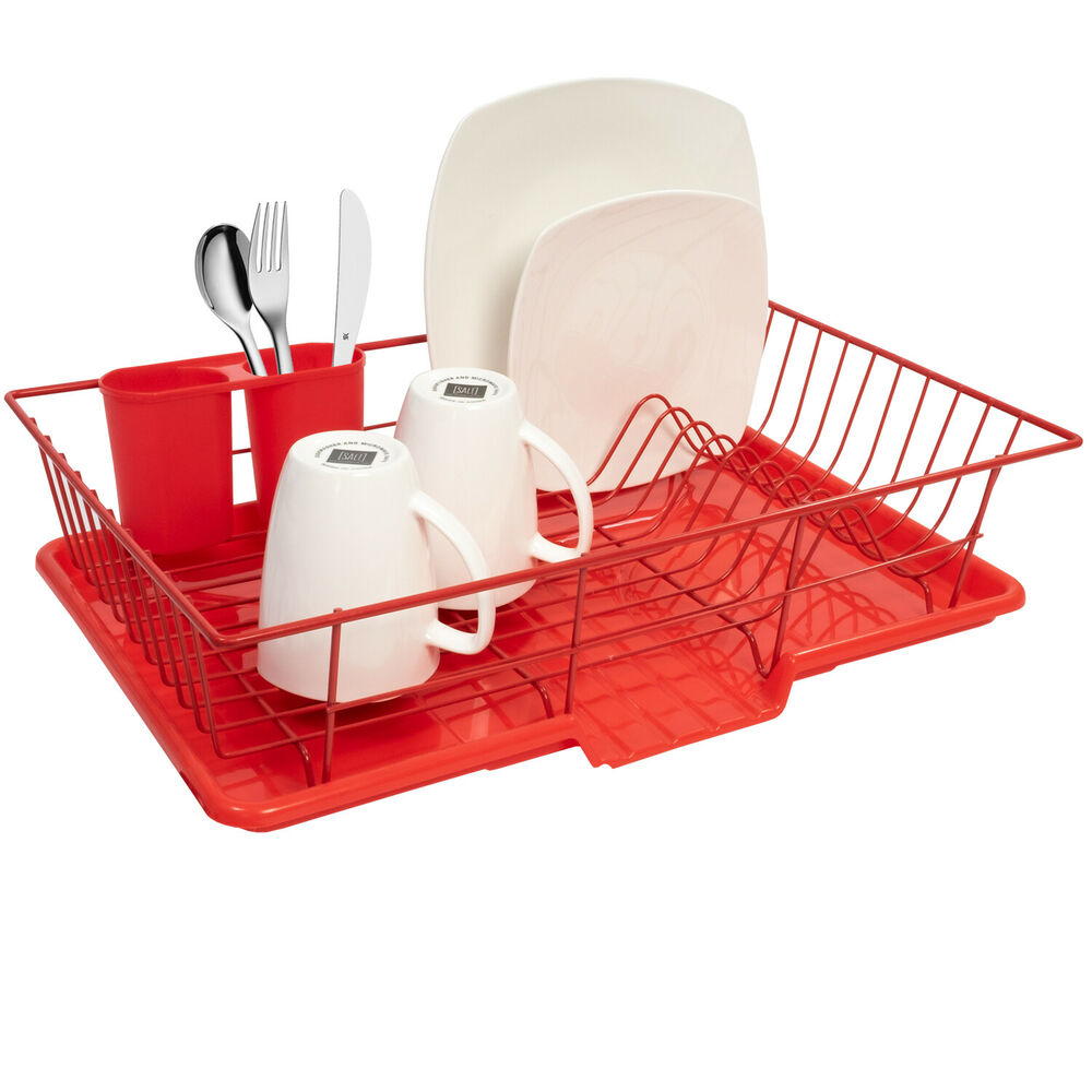 home basics 3 piece kitchen sink dish drainer set red ebay. Black Bedroom Furniture Sets. Home Design Ideas