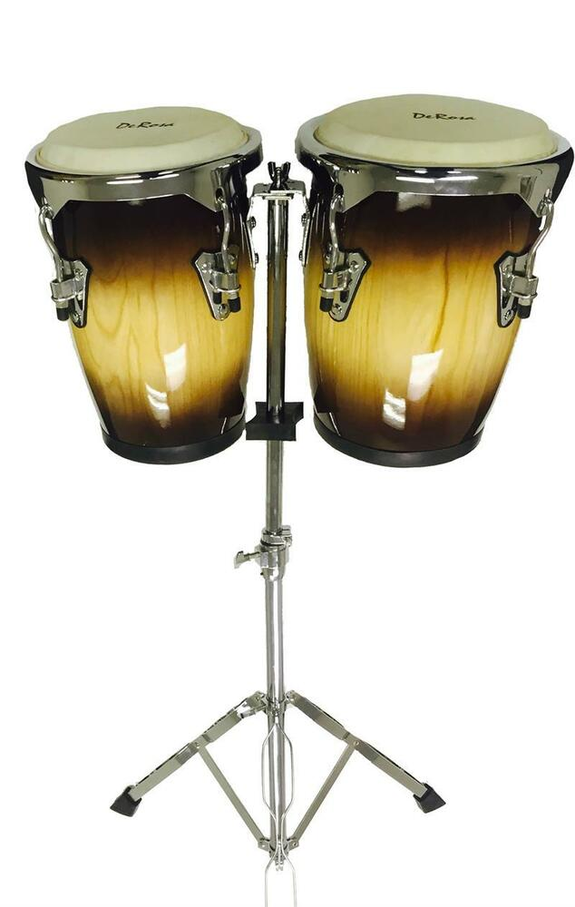 9 10 tobacco congas bongo conga drum set w stand de rosa percussion drums ebay. Black Bedroom Furniture Sets. Home Design Ideas