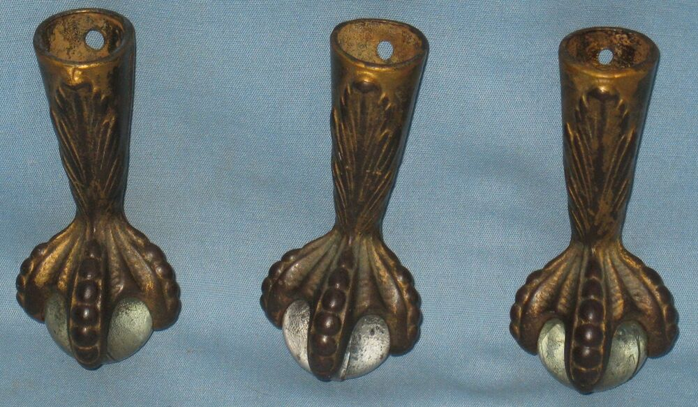 Antique Set Of 3 Cast Iron Claw Feet W Glass Balls For