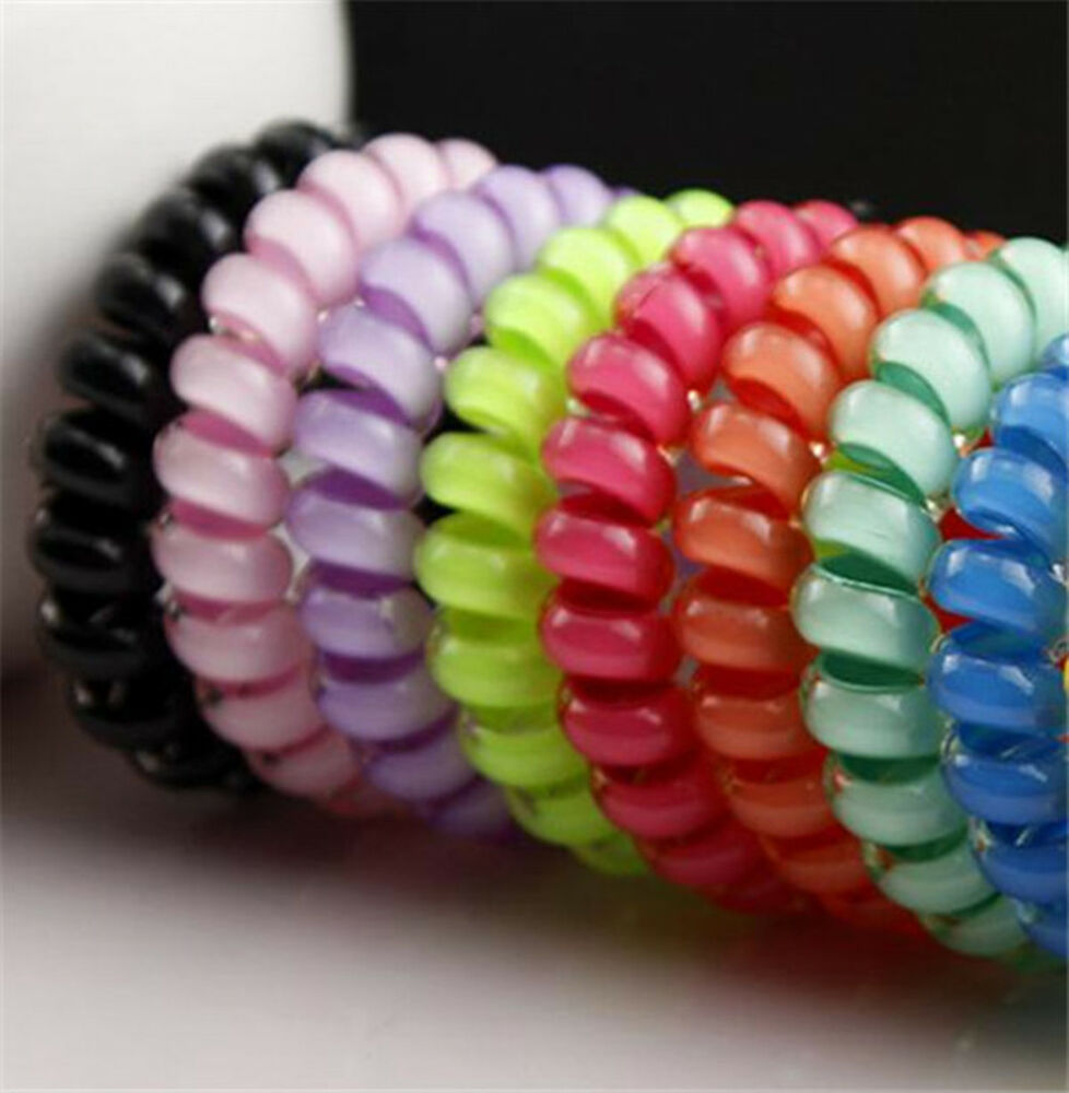 2pcs Candy Color Elastic Telephone Wire Cord Head Ties