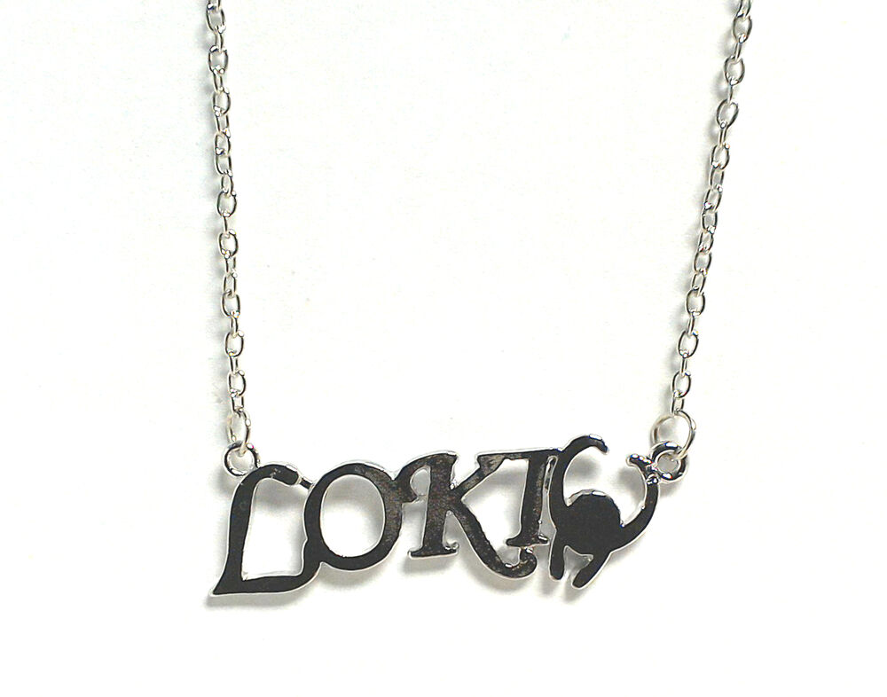 loki marvel necklace silver plated chain 20 inch