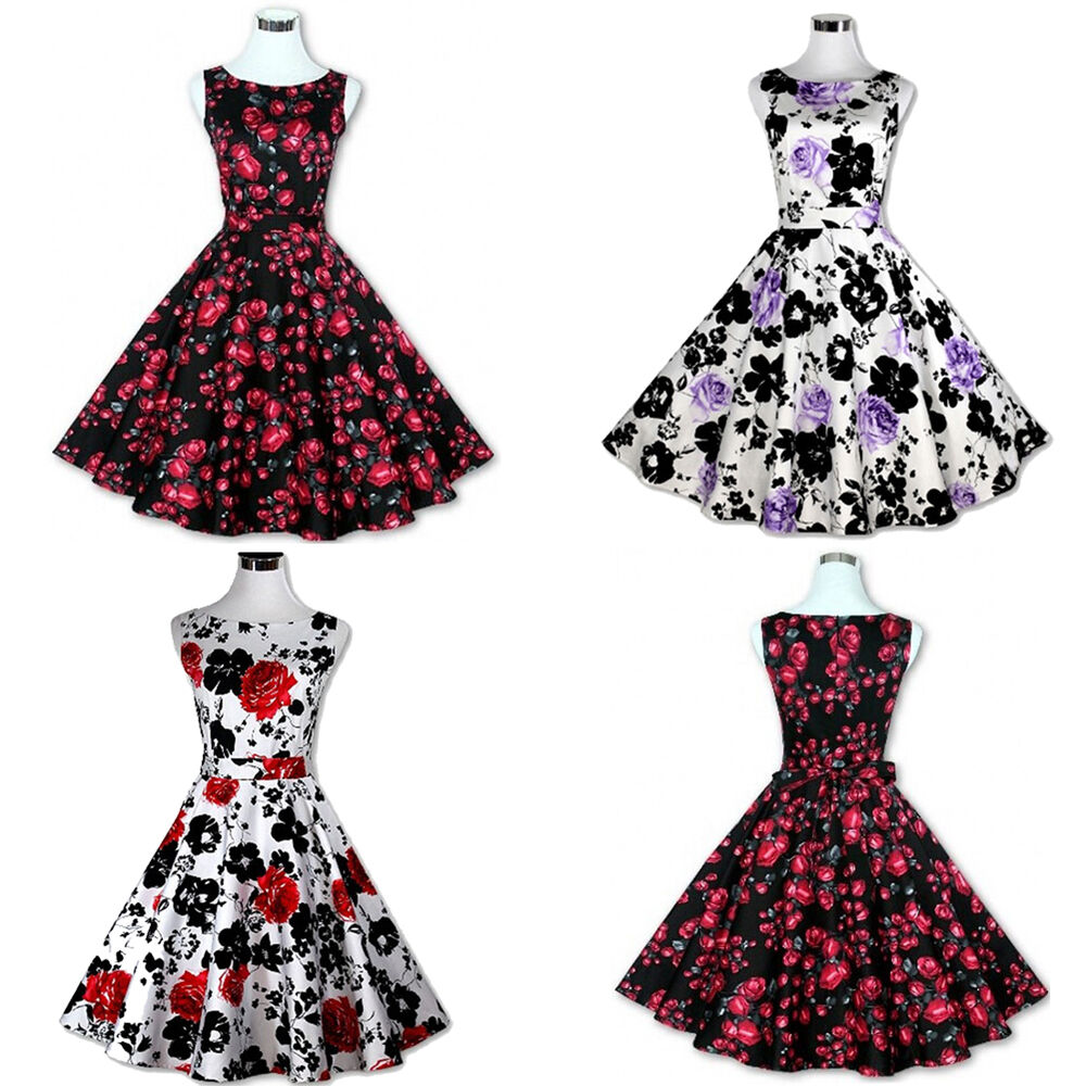 Womens Vintage Retro Rockabilly Floral Pinup 50s 60s Housewife ...