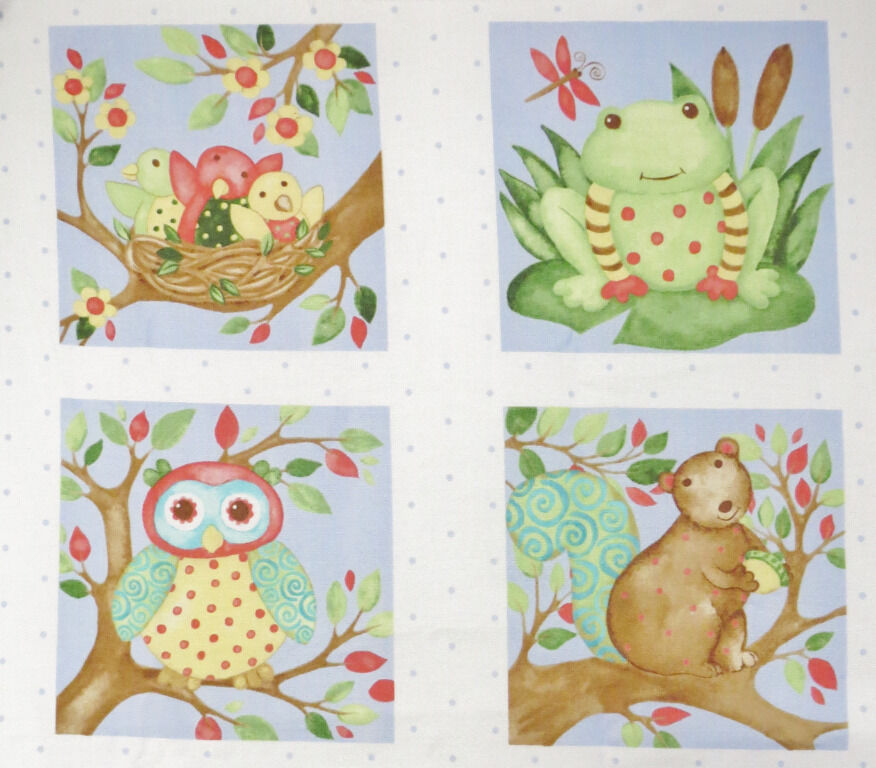 Children 39 s animal woodland friends birds frog owl squirrel for Childrens quilt fabric