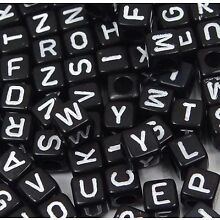 6mm Black White Acrylic Cube Letter Alphabet Beads spacer (100 pc)