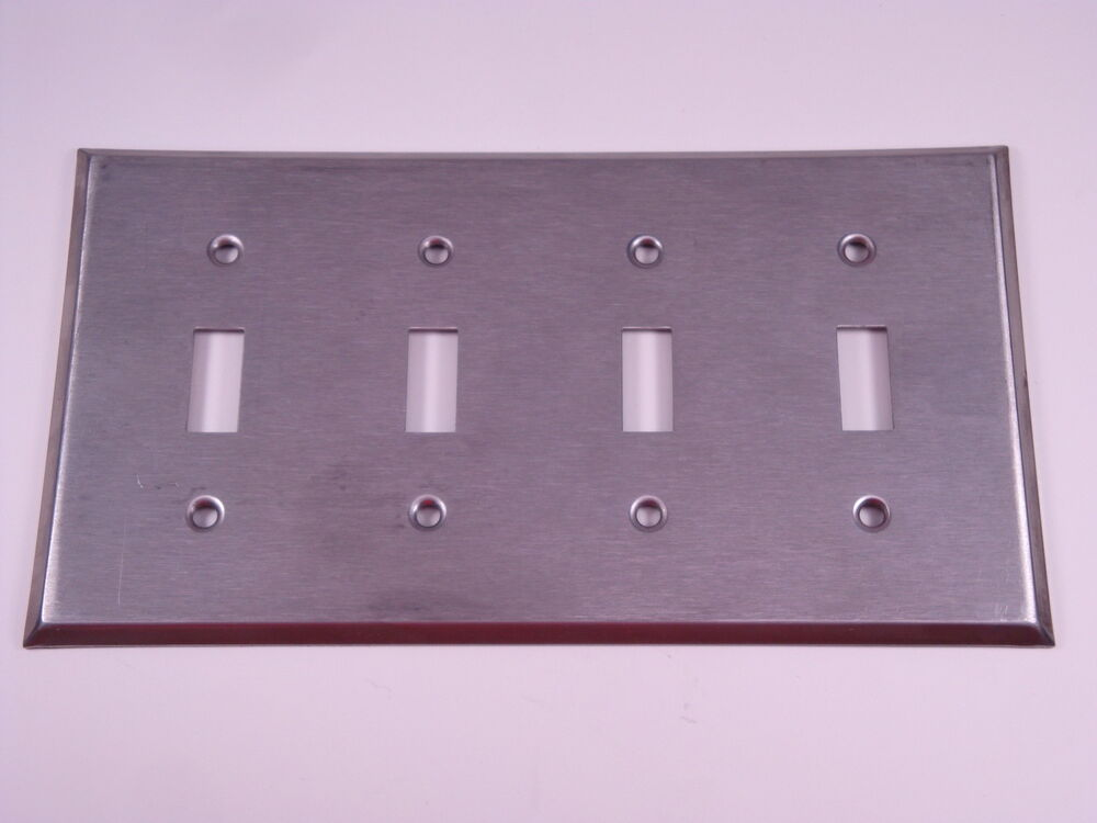 4 Gang Quad Toggle Switch Wall Plate Brushed Stainless