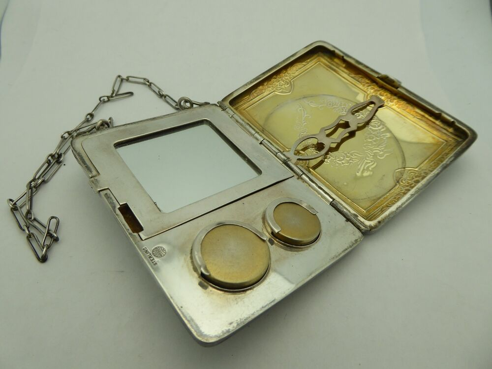 Vintage Sterling Silver Floral Gold Wash Lady S Compact